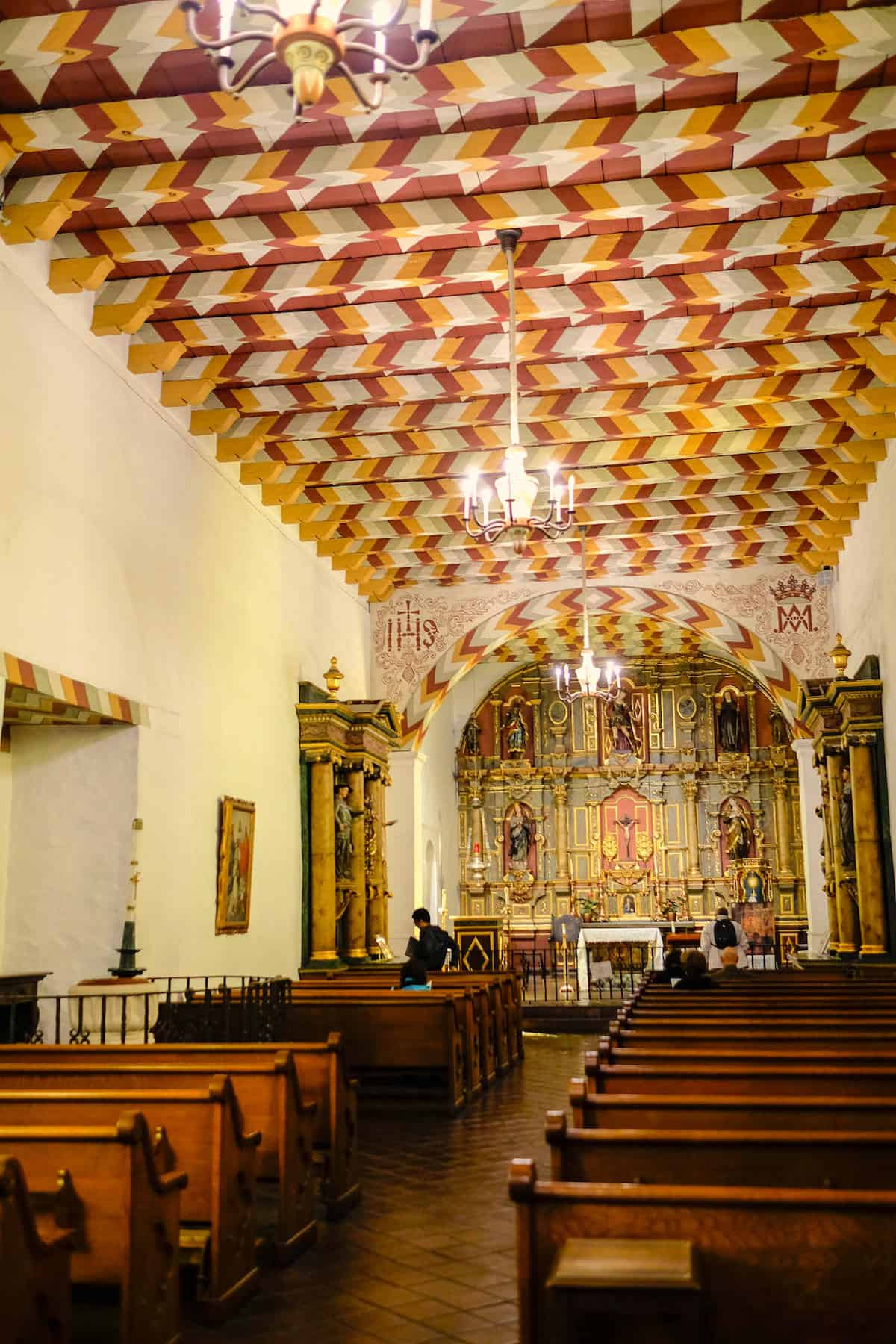 Mission Dolores San Francisco old chapel interior looking toward altar
