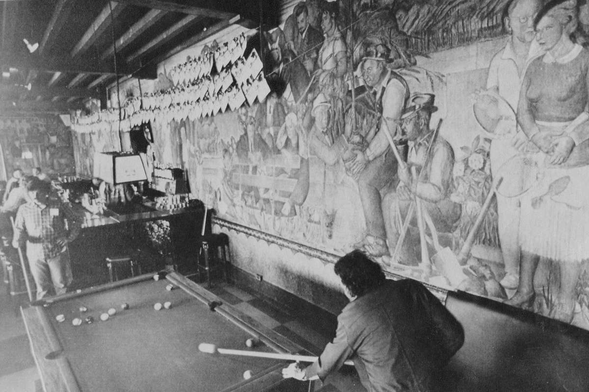 Beach Chalet WPA Fresco murals bar scene people playing pool