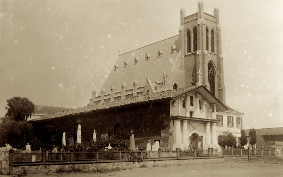 Mission Dolores San Francisco in 1885 with new church next door
