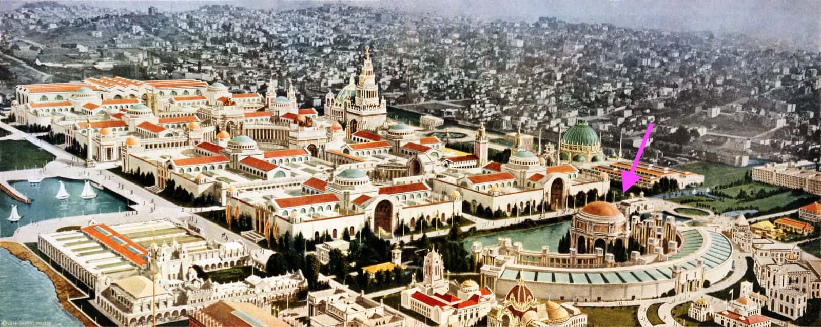 Panama Pacific Exposition of 1915 Panorama with Palace of Fine Arts highlighted