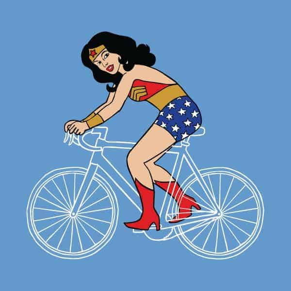 Wonder Woman Superhero Riding a Bike