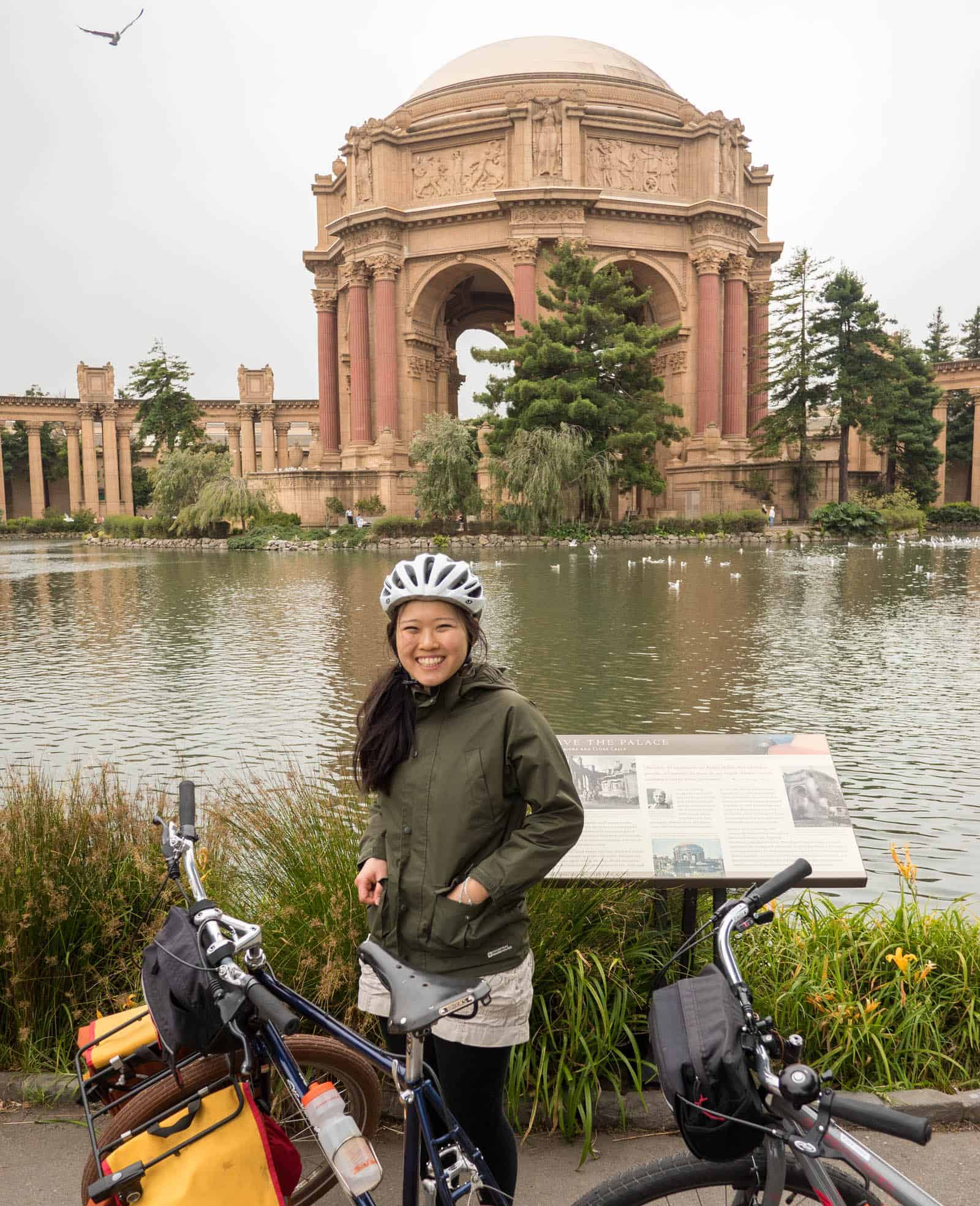 San Francisco's Palace of Fine Arts with woman on a bike tour