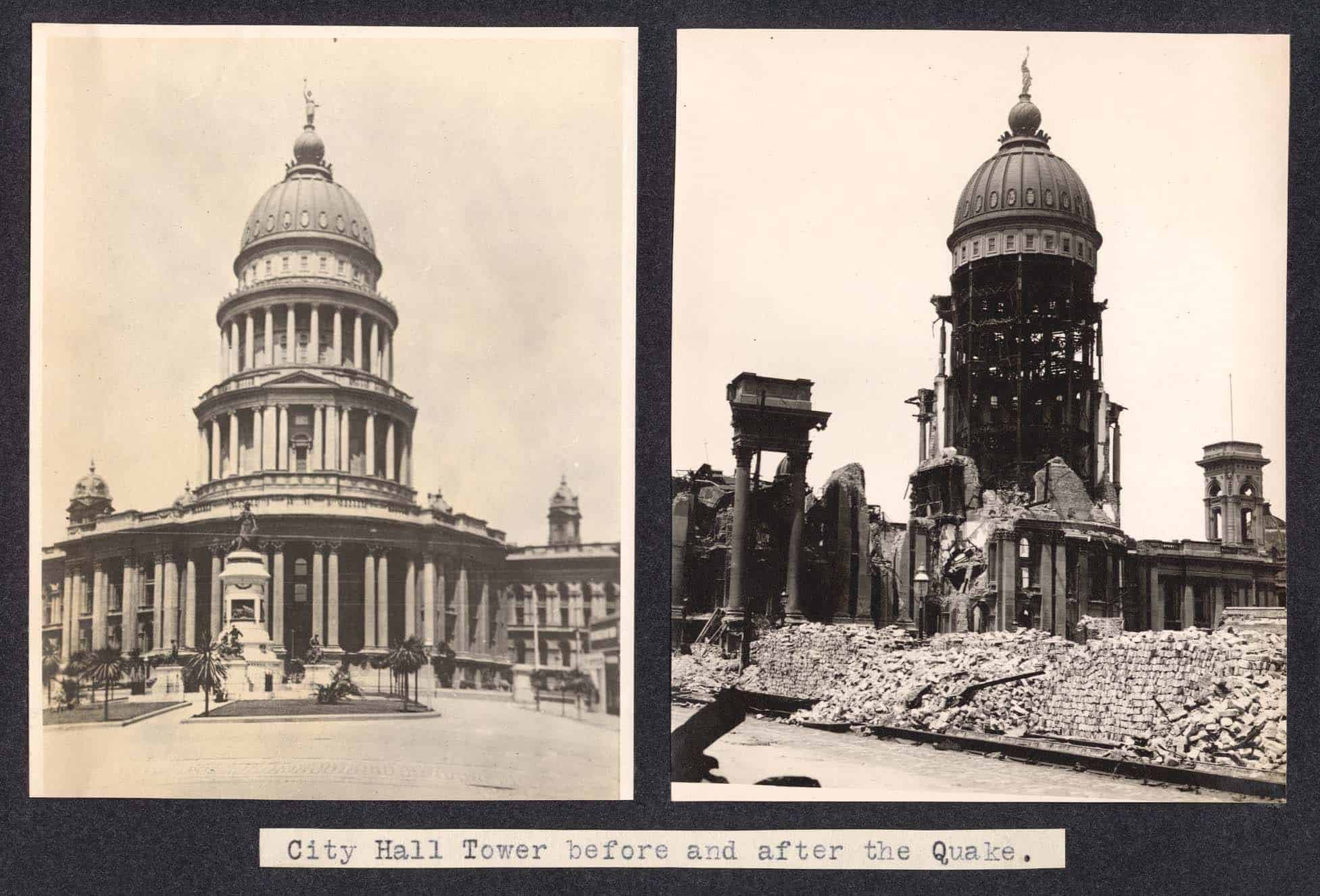 San Francisco's old city hall before and after 1906 Earthquake
